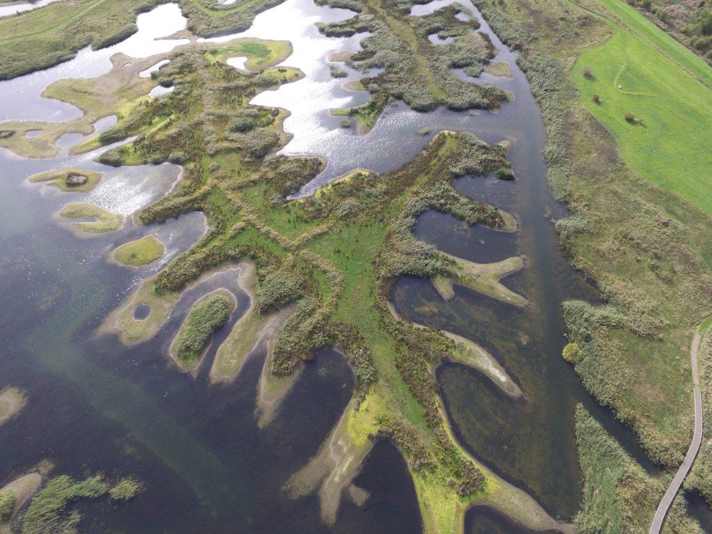 Aerial shot of wetland creation, RSPB Langford Lowfields Nature Reserve, Nottingham, October
