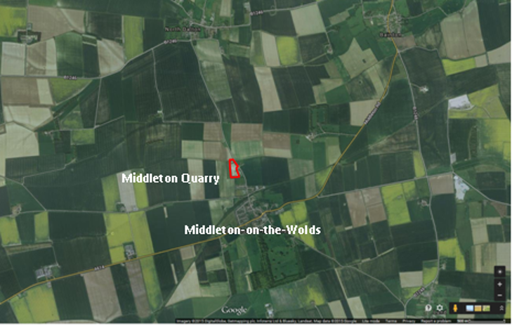 Figure1: Aerial view of Middleton Quarry and the surrounding agricultural landscape
