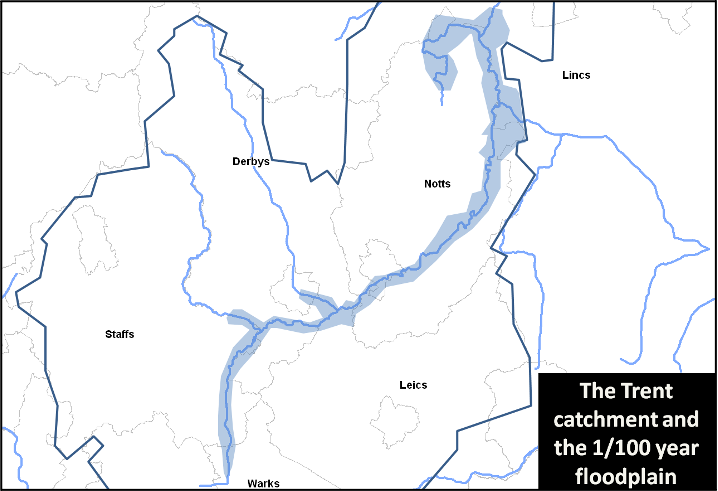 Figure 1. The River Trent catchment and the Trent & Tame River Valleys Futurescape (blue shading)