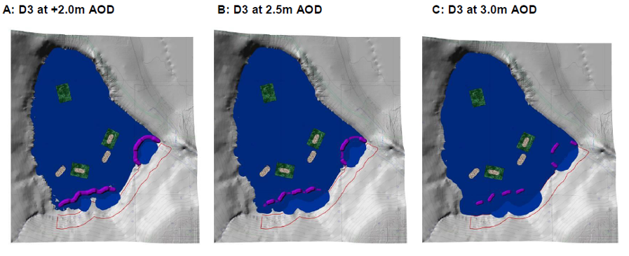 Figure 3: Surfer Model visuals of cut-and-fill construction method. The red outline is where slopes at a 1:20 ratio need to be cut to achieve the required amount of backfill to create the islands. The design incorporates floating islands and tern rafts.