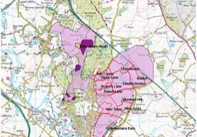 HEaP map showing Bryants Lane, surrounding extraction sites, the extent of existing heathland (dark purple) and land potentially suitable for heathland creation (light purple)