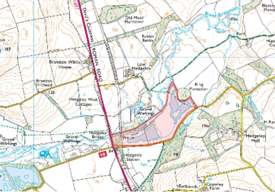 Low Hedgeley Quarry map