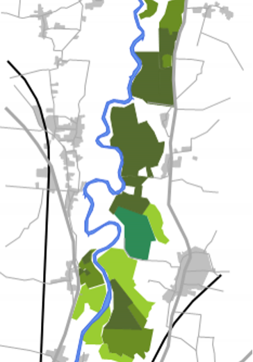 Figure 1: Restored sites (dark green), sites with permission/restoration under way (mid-green) and possible future allocations currently being considered through the draft Mineral Local Plan process (light green).